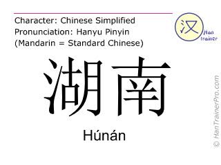 Chinese characters  ( Hunan / Húnán ) with pronunciation (English translation: Hunan )