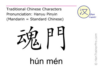 Chinese characters  ( hun men / hún mén ) with pronunciation (English translation: Bladder 47 )