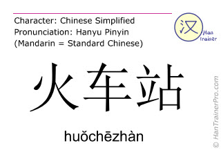 Chinese characters  ( huochezhan / hu&#335ch&#275zhàn ) with pronunciation (English translation: railway station )