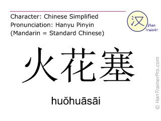 Chinesische Schriftzeichen  ( huohuasai / huŏhuāsāi ) mit Aussprache (Deutsche Bedeutung: Zündkerze )