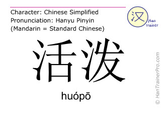 Chinese characters  ( huopo / huóp&#333 ) with pronunciation (English translation: lively )