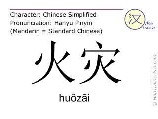 Chinese characters  ( huozai / hu&#335z&#257i ) with pronunciation (English translation: fire )