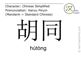 Chinese characters  ( hutong / hútòng ) with pronunciation (English translation: lane )
