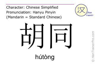 Caracteres chinos  ( hutong / hútòng ) con pronunciación (traducción española: carril )