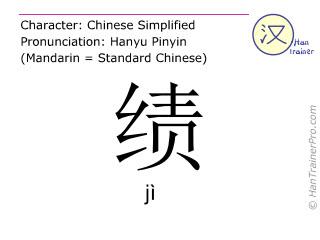 Caractère chinois  ( ji / jì ) avec prononciation (traduction française: mérite )