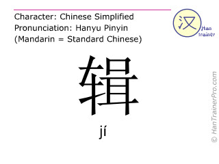 Chinese characters  ( ji / jí ) with pronunciation (English translation: to collect )