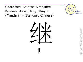 Chinese characters  ( ji / jì ) with pronunciation (English translation: to continue )
