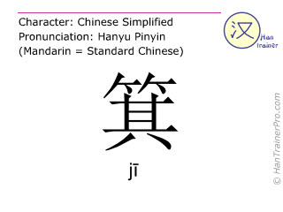 Chinesische Schriftzeichen  ( ji / jī ) mit Aussprache (Deutsche Bedeutung: <m>Kehrblech</m> )