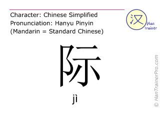 Chinesische Schriftzeichen  ( ji / jì ) mit Aussprache (Deutsche Bedeutung: <m>Grenze</m> )