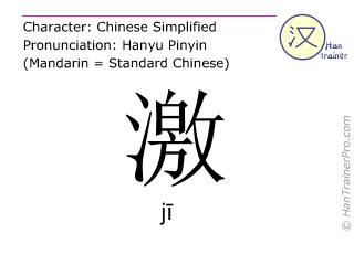 Chine&shy;sische Schrift&shy;zeichen  ( ji / j&#299; ) mit Aussprache (Deutsche Bedeutung: <m>aufregen</m> )