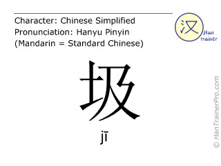 Chinese characters  ( ji / j&#299 ) with pronunciation (English translation: garbage )