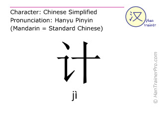 Chinese characters  ( ji / jì ) with pronunciation (English translation: <m>idea</m> )