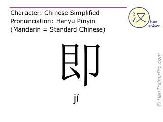 Chinesische Schriftzeichen  ( ji / jí ) mit Aussprache (Deutsche Bedeutung: <m>sofort</m> )
