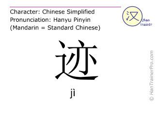Chinesische Schriftzeichen  ( ji / jì ) mit Aussprache (Deutsche Bedeutung: Zeichen )