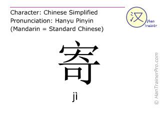 Chinesische Schriftzeichen  ( ji / jì ) mit Aussprache (Deutsche Bedeutung: abschicken )