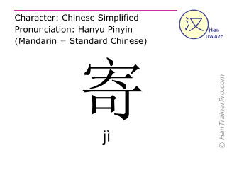 Chinese characters  ( ji / jì ) with pronunciation (English translation: to send )