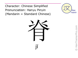 Chinese characters  ( ji / jĭ ) with pronunciation (English translation: spine )