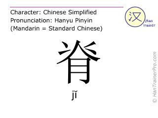 Caracteres chinos  ( ji / jĭ ) con pronunciación (traducción española: espina )
