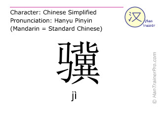 Chinese characters  ( ji / jì ) with pronunciation (English translation: very fast horse )