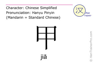 Chinese characters  ( jia / jiă ) with pronunciation (English translation: armor )