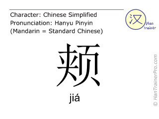 Chinese characters  ( jia / jiá ) with pronunciation (English translation: cheek )