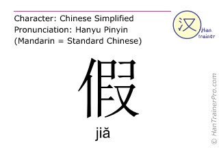 Chinese characters  ( jia / jiă ) with pronunciation (English translation: fake )
