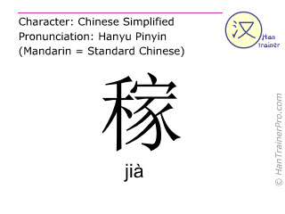 Chinese characters  ( jia / jià ) with pronunciation (English translation: to farm )