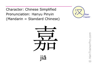 Chinese characters  ( jia / jiā ) with pronunciation (English translation: <m>good</m> )