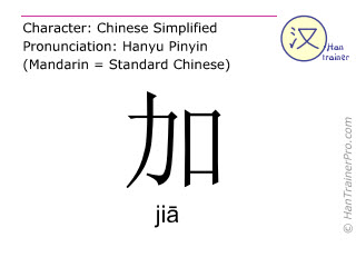 Chinese characters  ( jia / ji&#257 ) with pronunciation (English translation: plus )