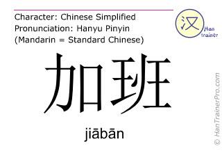 Chinesische Schriftzeichen  ( jiaban / jiābān ) mit Aussprache (Deutsche Bedeutung: Überstunden )