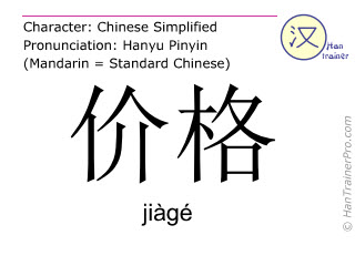 Chinese characters  ( jiage / jiàgé ) with pronunciation (English translation: price )