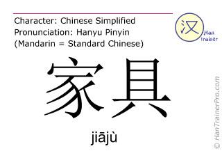 Chinese characters  ( jiaju / jiājù ) with pronunciation (English translation: furniture )