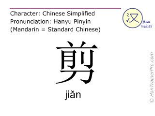 Caractère chinois  ( jian / jiăn ) avec prononciation (traduction française: couper )