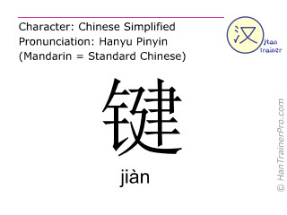 Chinese characters  ( jian / jiàn ) with pronunciation (English translation: key )