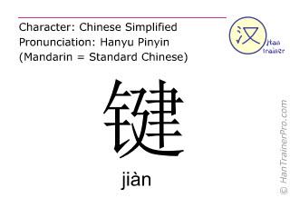 Chinese characters  ( jian / jiàn ) with pronunciation (English translation: key )