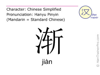 Chinese characters  ( jian / jiàn ) with pronunciation (English translation: one by one )