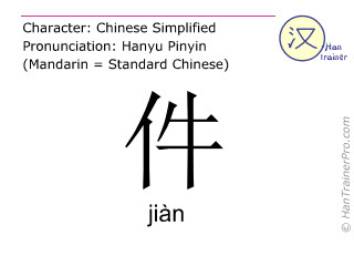 Chinese characters  ( jian / ji&agrave;n ) with pronunciation (English translation: <i>classifier (for pieces of clothes)</i> )