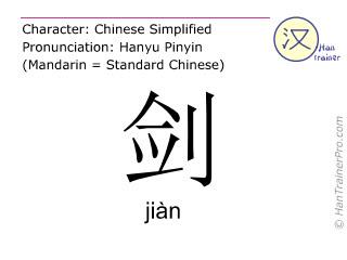 Caracteres chinos  ( jian / jiàn ) con pronunciación (traducción española: espada )