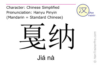 Chinese characters  ( Jia na / Jiá nà ) with pronunciation (English translation: Cannes )
