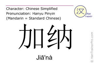 Chinese characters  ( Jia'na / Jiā'nà ) with pronunciation (English translation: Ghana )
