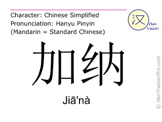 Chinese characters  ( Jia'na / Ji&#257'nà ) with pronunciation (English translation: Ghana )