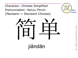 Chinese characters  ( jiandan / jiăndān ) with pronunciation (English translation: simple )