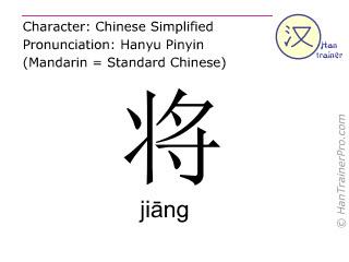 Chinesische Schriftzeichen  ( jiang / jiāng ) mit Aussprache (Deutsche Bedeutung: bereit sein )