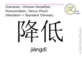 Chinesische Schriftzeichen  ( jiangdi / jiàngdī ) mit Aussprache (Deutsche Bedeutung: reduzieren )