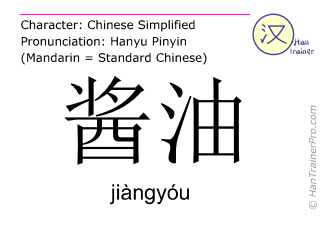 Chinese characters  ( jiangyou / jiàngyóu ) with pronunciation (English translation: soya sauce )