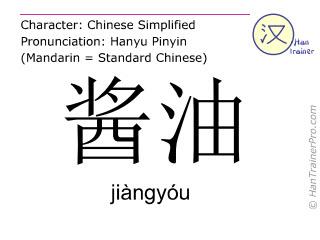 Caracteres chinos  ( jiangyou / jiàngyóu ) con pronunciación (traducción española: salsa de soja )