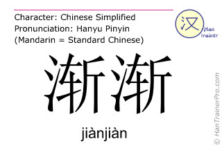 Chinese characters  ( jianjian / jiànjiàn ) with pronunciation (English translation: gradually )