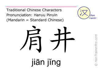 Chinese characters  ( jian jing / jiān jĭng ) with pronunciation (English translation: Gall Bladder 21 )