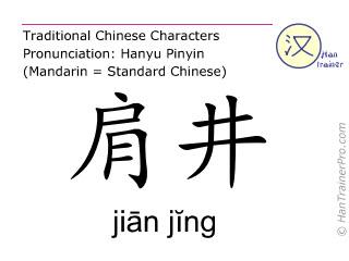 Caractère chinois  ( jian jing / jiān jĭng ) avec prononciation (traduction française: vésicule biliaire 21 )