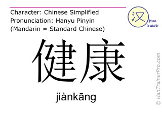 Chinese characters  ( jiankang / jiànkāng ) with pronunciation (English translation: fitness )
